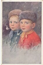CHILDREN :Two boys smoking pipes-K FEIERTAG-B.K.W.I.