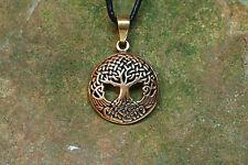 Anhänger Amulett Yggdrasil Bronze klein mit Lederband Wikinger Weltenesche