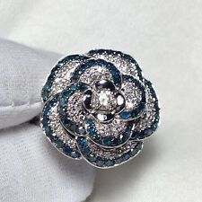 18ct White Gold Natural Blue&White Diamond Cocktail Flower Ring