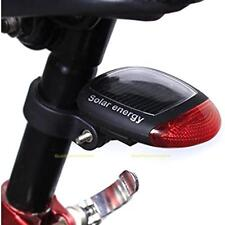 2 LED Red Bike Bicycle Solar Energy Rechargeable Red Tail Rear Light Flash Light