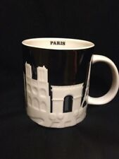 Starbucks Paris Mug Relief Black Notre Dame Louvre Eiffel Tower Arc Seine White