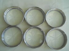 6 Vintage Birks Sterling Coasters With Star-etched Glass Bottom