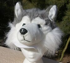 SIBERIAN HUSKY HAT plush ADULT animal dog Costume furry cap Alaskan malamute NEW