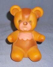 Vintage Rubber Baby Teddy Bear w/ Bib Soft Squeak Toy Doll Works