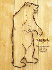 Grizzly Bear - hunting bow sculpture hanging barbed wire art western decor wall