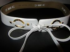 St. John NWOT White Leather & Gold Rings Fashion Tie Belt - Size 32 md Italy