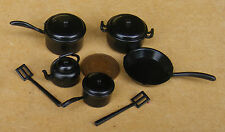 1:12 Scale Black Plastic Kitchenware Set Dolls House Miniature Kitchen Accessory