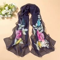 Navy Blue Flower Print Scarf Lady Women Shawl Wrap Silk Chiffon Scarf
