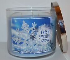 BATH & BODY WORKS FRESH SPARKLING SNOW SCENTED CANDLE 3 WICK 14.5 OZ LARGE BLUE