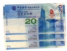HONG KONG CHINA 2008 Olympic Commemorative  Banknote with folder 3set Running no