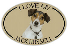 Oval Dog Breed Picture Car Magnet - I Love My Jack Russell - Bumper Sticker