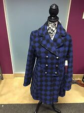 Marc by Marc Jacobs Blue and Black Checkered Women's Peacoat Size Small