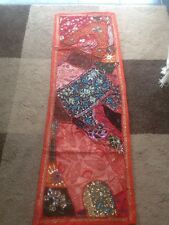 Vintage WallHanging  Tapestry Indian Handmade Embroidered Runner  Red 60""