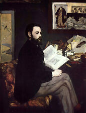 Wonderful Oil painting Edouard Manet - Male Portrait of Emile Zola & book canvas