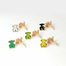 5pairs Alloy Enamel Ear Studs Bear Rose Gold Metal Color Mixed Color Earring Set