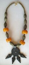 Ethnic Design Necklace/Gan Bronze Serpant Pendant/African Amber, Bronze Beads