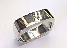Unique Heavy Taxco Mexico Square Sterling Silver and Gold Accent Bracelet Bangle