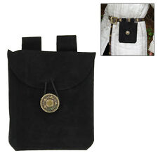 Medieval Renaissance Leather  Black Suede Coin Belt Pouch