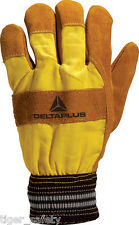 x2 Pairs Delta Plus Venitex DF132 Brown Warm Lined Leather Rigger Work Gloves