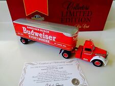 "1999-MATCHBOX-1948 DIAMOND T TRACTOR TRAILER- BUDWEISER  -10"" LONG NIP"