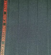 Super 120'S  English wool suit fabric 5 Yards Blue  wool suit fabric