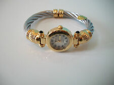 Designer style Cable silver and gold finish bangle fashion watch