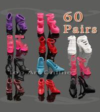 60 Paires Chaussures Botte Sandale Talons Hauts Shoes Pour Poupée Barbie Cadeau
