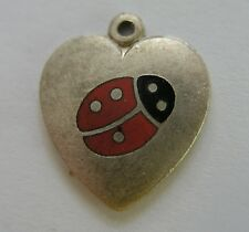 Sweet Vintage 800 Silver German Enamel Heart Ladybug 'Good Luck' Charm