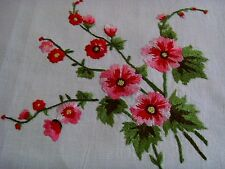 BEAUTIFUL VINTAGE LINEN TABLECLOTH HAND EMBROIDERED SUMMER GARDEN FLOWERS UNUSED