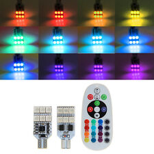 1 Pair DC 12V T10 5050 12 LED RGB Car Interior Dome Reading Light+Remote Control