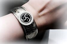 BDSM symbol triskele emblem bracelet steampunk cuff submissive slave dominant