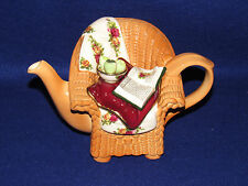"ROYAL ALBERT ""OLD COUNTRY ROSES"" PAUL CARDEW WICKER CHAIR DECORATIVE TEAPOT"