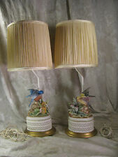 2 Vintage Matching Porcelain Bisque Blue Bird Yellow Finch Table Lamps