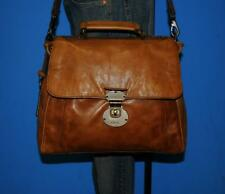 FOSSIL 'Vintage Reissue Turnlock' Brown Leather Cross-Body Satchel Purse Bag