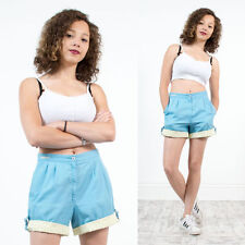 WOMENS VINTAGE ADIDAS BABY BLUE AND YELLOW HIGH WAIST TENNIS BADMINTON SHORTS 10