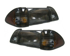 1987-1993 Mustang Smoked w/ Parking & Amber Side Markers 6-Piece Headlights Set