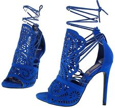 Royal Blue Perforated Front Strappy Lace Up Sides Open Toe Bootie Heels, US 11