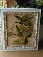 vintage 1977 CREWEL EMBROIDERY yarn WALL ART antique shabby frame mallard ducks