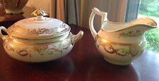 ANTIQUE 1820's RARE Royal Crown Derby Gorgeous Gilded Creamer & Sugar