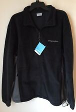 NWT Men's Columbia Flattop Mountain Easy-Care Fleece Jacket Black/Gray XL