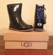 NIB UGG Australia T Corene BLACK PATENT Boots Toddler Girls 9 BLACK/BLUE RIBBON