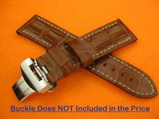 24mm Brown HORNBACK CROC Grain Leather Band Deployment Strap PANERAI PAM