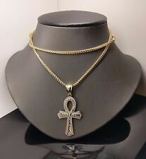 "Brand New 10 K Yellow/White Gold Ankh Cross Pendent With 10 K 26"" Franco Chain"