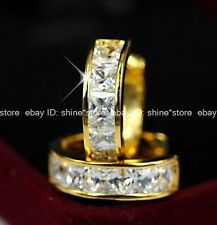 18K YELLOW GOLD FILLED SQUARE WEDDING DIAMOND HUGGIES HOOP SOLID EARRINGS GIFT