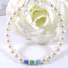 Bracelet Adorned With Swarovski Crystals Dark Blue, Green & Sky Blue and Pearls