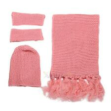 3pcs Women Knit Tassel Scarf Shawl Beanie Ski Hat Slouch Cap Gloves Warm Set