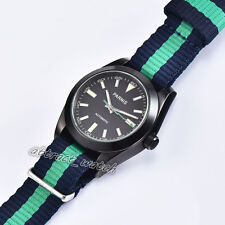 Men's Automatic Watch 40mm Parnis Sapphire Glass Pvd Case Black Dial Geen Mark