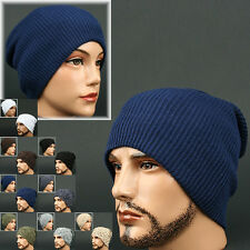 Beanie T Navy BLUE STRIPE Skull Knit Head Wrap Fashion Hat