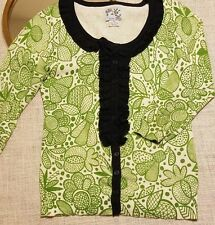 Anthropologie Tabitha Vtg Inspired Forest Whimsy Cardigan Sweater Ruffle XS A81