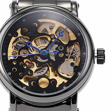 SHENHUA Black Skeleton Automatic Mechanical Ladies Women's Stainless Steel Watch